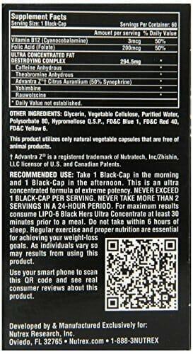 Lipo 6 Black - Informação Nutricional