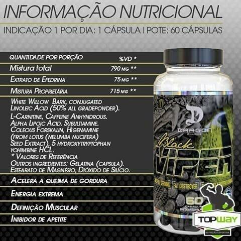 Black Viper da Dragon Pharma - Informação Nutricional